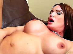 Remarkable and busty slut Diamond Foxxx with her perfect and flawless body and huge boobs is doing a spectacular blowjob and having her wet and horny pussy raped by a huge pepper.