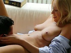 Lusty blonde Teena Dolly showing how she likes to fuck and be pleased while showing her sweet and white skin and boobs she is having her pussy licked and also she is doing a good blowjob.