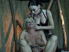 Mya Diamond is having fun with blonde cutie Sandra Parker in some dark room. Mya ties Sandra up and pleases her with fingering before smashing her pussy with a dildo.