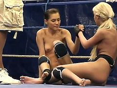 Two of the hottest stars today Aspen and Blond Cat get into a nude catfight for dominance