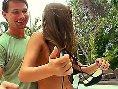Watch this amazing video were Madelyn Marie is doing a spectacular blowjob for her boyfriend at the pool while showing her sexy boy with her medium but still very attractive boobs.