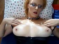 Amateur girl with glasses getting a messy facial