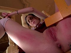 College girl Amber Nevada in uniform and with no panties gets dominated by four-eyed redhead Amarna Mille on stairs. She gets her pink bare pussy and ass slapped with no mercy by kinky girl.