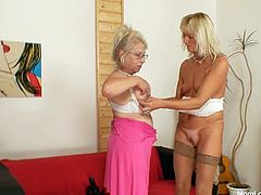 Aroused grey-haired grannies get horny after the first shots of alcohol. They mouth fuck a huge sleek dildo before taking off their clothes in order to oral stroke pinkish nipples and slack big tits in steamy lesbian sex video by Mom Loves Mom.