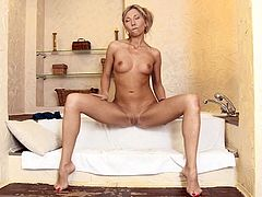 Slim blonde chick Nadija proves that she is a nasty girl. She strips, demonstrates her body and then finger-fucks her vagina and asshole.