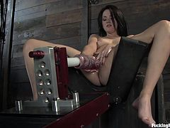 Watch this breath taking fucking machines scene where a heart stopping brunette climaxes thanks to machines.