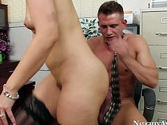 Gorgeous blonde hottie Anikka Albrite fucks her coworker in office