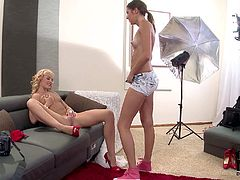 Vanda and Agness are two pretty sweet girls that have lesbain sex after photo shoot. Small titty blonde gets her pink shaved pussy licked by cute brunette after posing naked in shoes.
