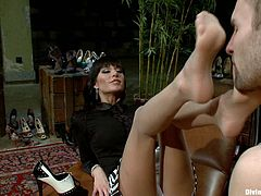 Two divine bitches having fun with male slave