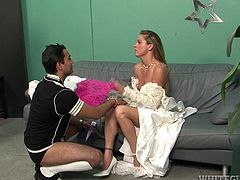 Slutty and slim blondie with nice tits and smooth ass gets rid of her wedding gown and panties. Bending over the couch ardent nympho desires to get her wet juicy pussy licked and tickled, as well as fucked tough.