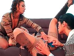 Erotic lesbian threesome with clothed beauties
