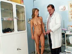 Skinny dirty mom comes to the medical appointment. She gets undressed showing off her appetizing body before a kinky doctor starts mauling her baggy tits.