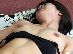 After an intensive day of training in the gym, flat breasted Japanese hussy receives a portion of finger fuck from horny coach in missionary and doggy styles.