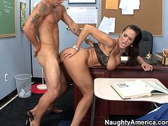 Horn-mad slutty brunette with huge boobs is a slutty teacher. Spoiled voracious with nice butt loves riding the dick of her naughty student right on the desk. Being banged missionary in the college is what perverted slut loves the most.