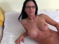 Provocative naked black haired bitch with nerdy glasses and nice firm hooters stuffs her hairless wet cunny with long wooden baseball bat while getting filmed in point of view at the interview