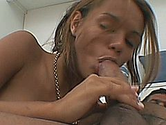 This hot Brazilian chick shows us that she is horny to fuck. As soon as her boyfriend arrives she sucks his large latino dick. Then she gets on top of him and bounces up and down on his cock. He then tets on top of her and proceeded to drive his shaft in and out of her wet pussy. He also took her from behind, doggy-style. During this time he slowly slides his cock inside her tight asshole. He then finishes her off by cumming all over her lovely face.
