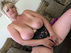 Big boobs mature Jessika likes to pleasure herself a lot. She enjoys the attention we are giving her and spreads her thighs to finger that tight, pink pussy. Yeah look at those big soft breasts and at her hot cunt that she's filing with a dildo, are we going to see her stretched vagina?