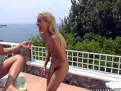 Turned on adorable long haired blondes Cherry Jul, Jasmin, Jane F and Sandy with jaw dropping bodies and firm asses get naked and have wild lesbian orgy on terrace with stunning view