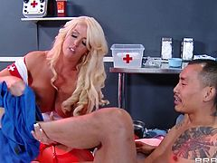 Dr. Styles is napping after a complicated surgery when two nurse tease him and put two IV bags on his face. In his dream he thinks they are tits and imagines sucking the nipples of a beautiful blonde nurse with massive melons.