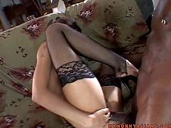 Attractive smoking hot asian brunette babe with fit body and pretty face in stockings and stripper shoes gets demolished by wild black bull with long meaty anaconda all over the place