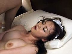 This kinky maid is so fucking loyal to her boss that she even agrees to get fucked by him. She sucks his dick first and then rides him.