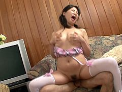 Slutty Japanese girl with chubby face is getting nailed bad in her wet hairy cooch. Then she tops the rod jumping on it intensively.