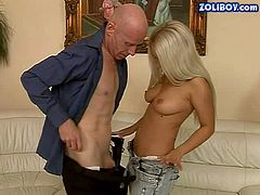 Attractive young blonde stunner Nesty with natural boobs and perfectly shaped delicious ass has mouth full with stiff packer while handsome stud with shaved head is licking her in wild sixty nine