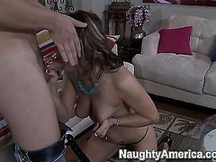 Cheating is what Carmen McCarthy does all the time and this time she loves the way her new lover is putting his long penis to use. He is face fucking her hard.