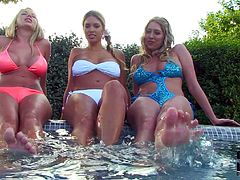 Danielle Maye and Lexi Lowe and their lovely friend have foot fetish fun by the pool. Three juicy bikini-clad lesbians with massive jugs have foot fun in the open air. Watch busty bikini babes suck each others toes.