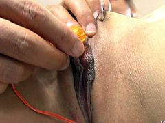 Lustful Japanese bitch wearing sassy fishnet stockings is getting her pussy finger fucked. Later, the guy applies small vibrator tickling her clitoris.