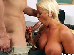 Tanned busty and voracious teacher goes wild today. This curvy nympho needs to be fed with cum, so she kneels down after rubbing her wet mature cunt. This blond lady seduces her male student and sucks his dick passionately right in the college.