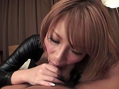 Zealous and hot Japanese chestnut nympho in latex suit desires to be fed with cum. After sucking a cock slim babe with flossy ass wanna get her juicy pussy licked tenderly in return. Check her out in Jav HD sex clip and be sure to jizz at once.