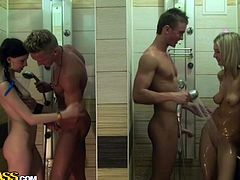 Two insatiable couples make out in the neighboring shower cabins. First horny dudes maul steamy Russian babes with rapacious hands before they split in couples to welcome blowjobs and pound sizzling chics from behind in doggy style in steamy group sex video by WTF Pass.