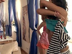 Two dirty Russian lesbian sluts hook up with a young rapacious wanker. They oral stroke each other in front of him before they give him a rapacious blowjob. Later he pokes them from behind in turns in sultry group sex video by Fame Digital.