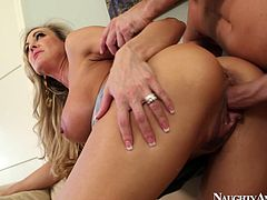 Sexy and hot blonde babe Brandi Love is nailed bad doggy style upskirt
