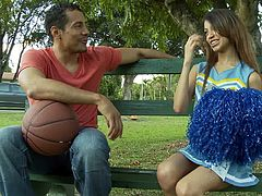 Adorable brunette cheerleader Veronica Rodriguez is having fun with some guy. They have ardent oral sex and then bang in cowgirl and other positions.