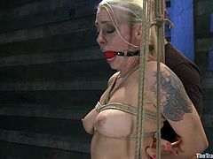 Bonded blonde chick gets gagged and fucked hard from behind by her Master. After that he also fucks her deep in her ass.