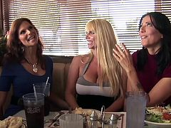 These incredibly gorgeous mature women are insatiable and they can get enough young cock. These three all have their eye on the same man and they team up to have dirty sex with him. The suck him off and let him fuck them hard.