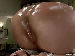 All Lana Violet has to do is push out her tight ass in order to let him make her cum real hard. She is doing that with pleasure and making him horny in the dungeon.