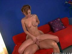 Attractive slim brunette teen slut with pony tail and natural boobies in black leather boots only gives head to handsome stud with six pack and gets rammed hard on couch