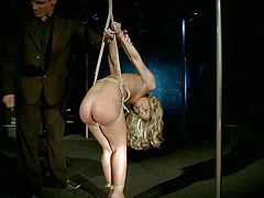 Young blonde gets tied up and tortured in kinky fantasy