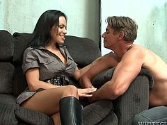Perverse overaged foot fetishist licks high heel boots of a sextractive brunette hussy while taking them off. Later he proceeds to sucking her stinky toes that he deeply swallows in steamy sex video by Fame Digital.