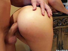 She is voracious brunette bitch with long hair. She bends over in the bathroom getting rammed bad from behind. Then the couple moves to the bedroom where she rides the stick like crazy.