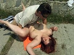 Jenna likes the attention men gives her. She's a bbw with a lot of love to give and receive. Here she is outside with two guys that are about to satisfy this chubby cunt. She eats one of them's cock and then lays on her back to receive satisfaction. Will they have some fun three ways?