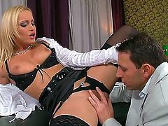 Hot and playful businesswoman Kathia Nobili stays in black stockings and starts fooling around with man. He is licking pussy of hottie before getting deep throat from her.