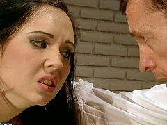 Tempting brunette schoolgirl Angell Summers with big juicy hooters and her hot ass classmate in short skirts get tied up for desk and spanked hard by their filthy professors in classroom