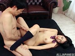 Lusty and super sexy Japanese babe is a school girl that doesn't go to classes, as she has some other things to do.
