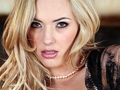 Mesmerizing blonde beauty Sophia Knight exposes her lovely tits and pussy for you and pleases herself with ardent pussy fingering.