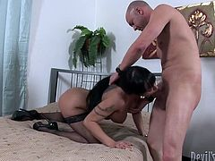This curvy brunette harlow is a renowned prostitute. She doesn't have time for the rest since one client changes another really quickly. This time she makes out with bald fucker, whom he gives a head before he proceeds to fucking her in doggy and missionary style.