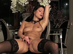 Kinky hot brunette takes off black nightie. All naked slim and tall nympho plays with her boobs till the nipples get fist and desires to tickle her wet pussy for reaching orgasm at once.